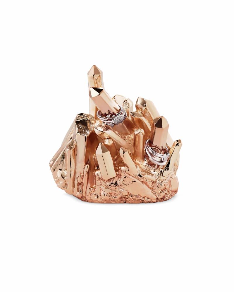 Metal Crystal Ring Holder in Rose Gold