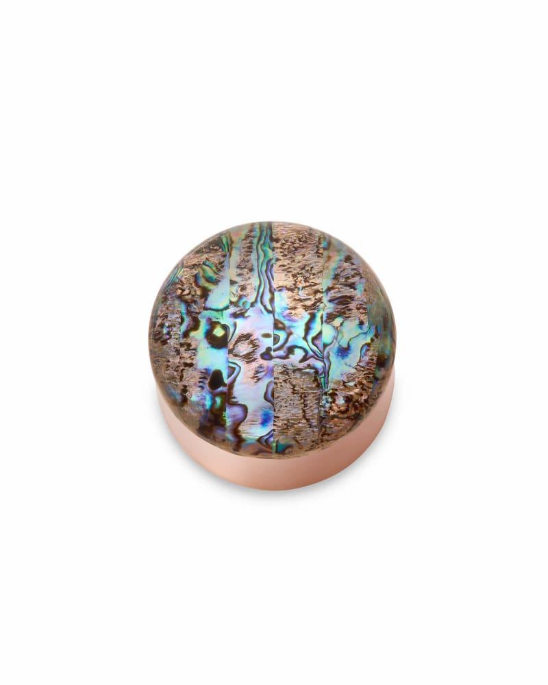 Mini Decorative Rose Gold Dome Box in Abalone Shell