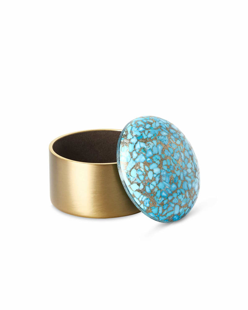 Mini Decorative Brass Dome Box in Bronze Veined Turquoise Magnesite