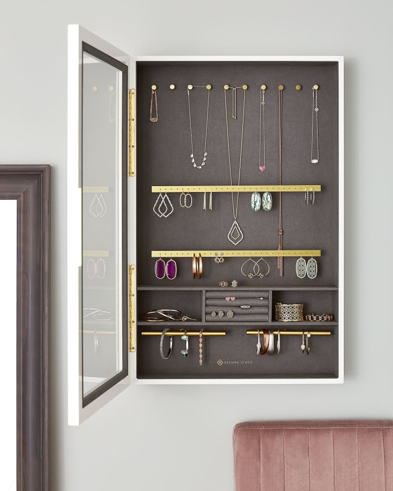 Wall Mount Jewelry Storage in White Lacquer