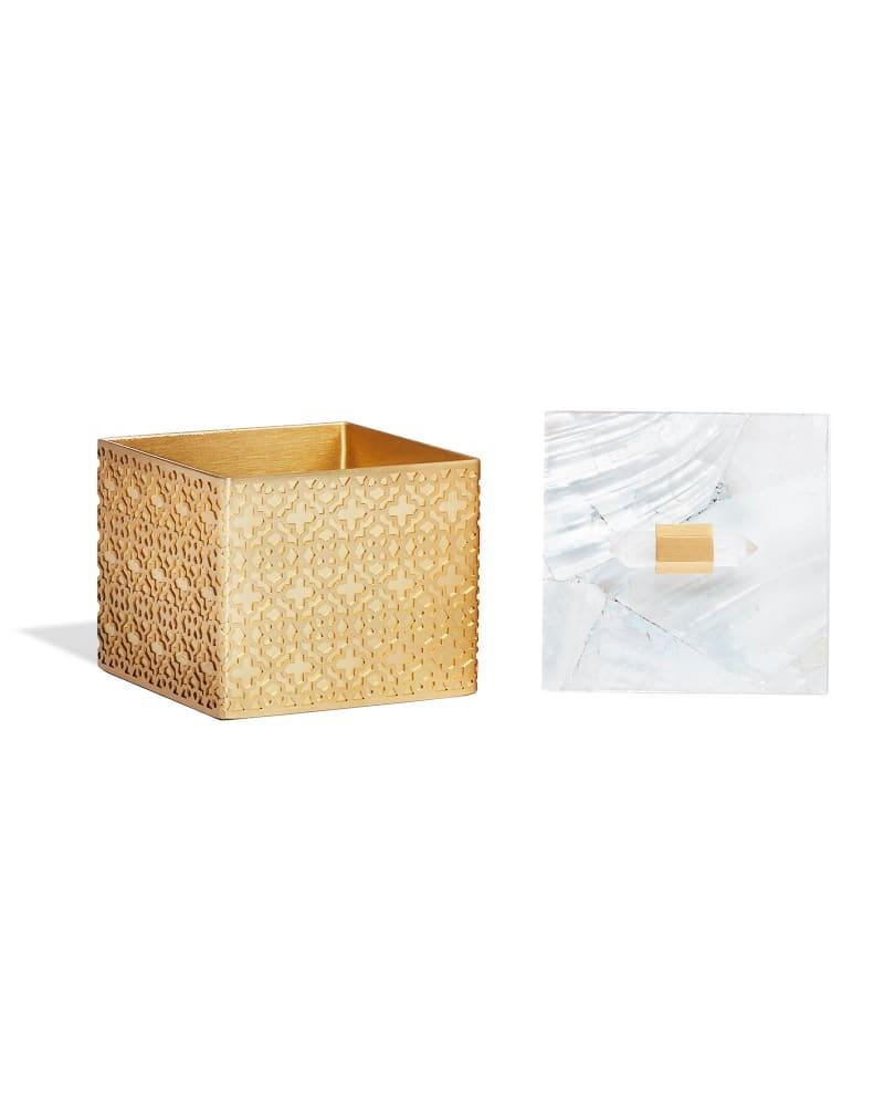 Square Filigree Box in Crackle White Pearl