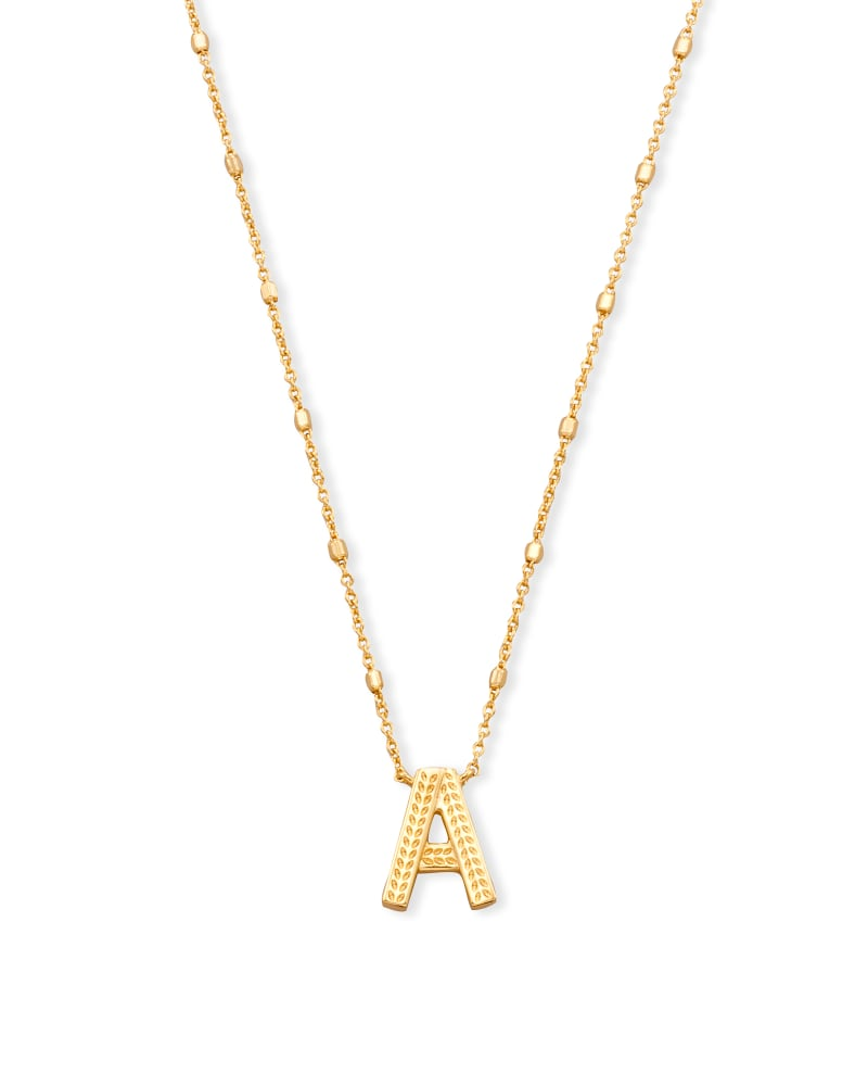 Letter A Pendant Necklace in Gold