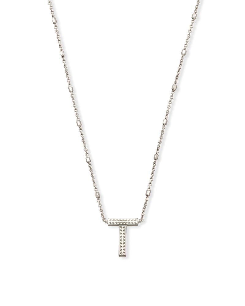 Letter T Pendant Necklace in Silver