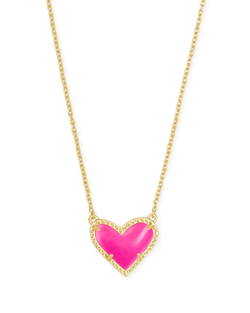 Ari Heart Gold Pendant Necklace in Magenta Magnesite