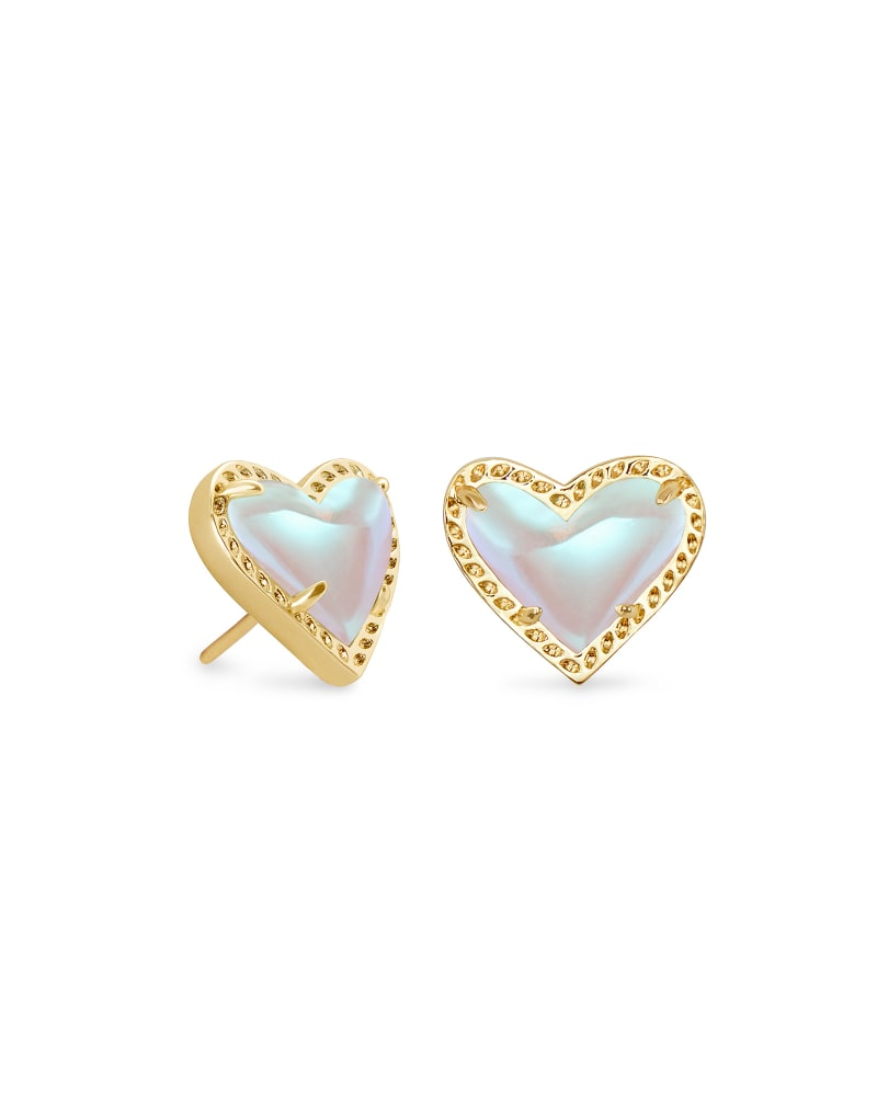 Ari Heart Gold Stud Earrings in Dichroic Glass