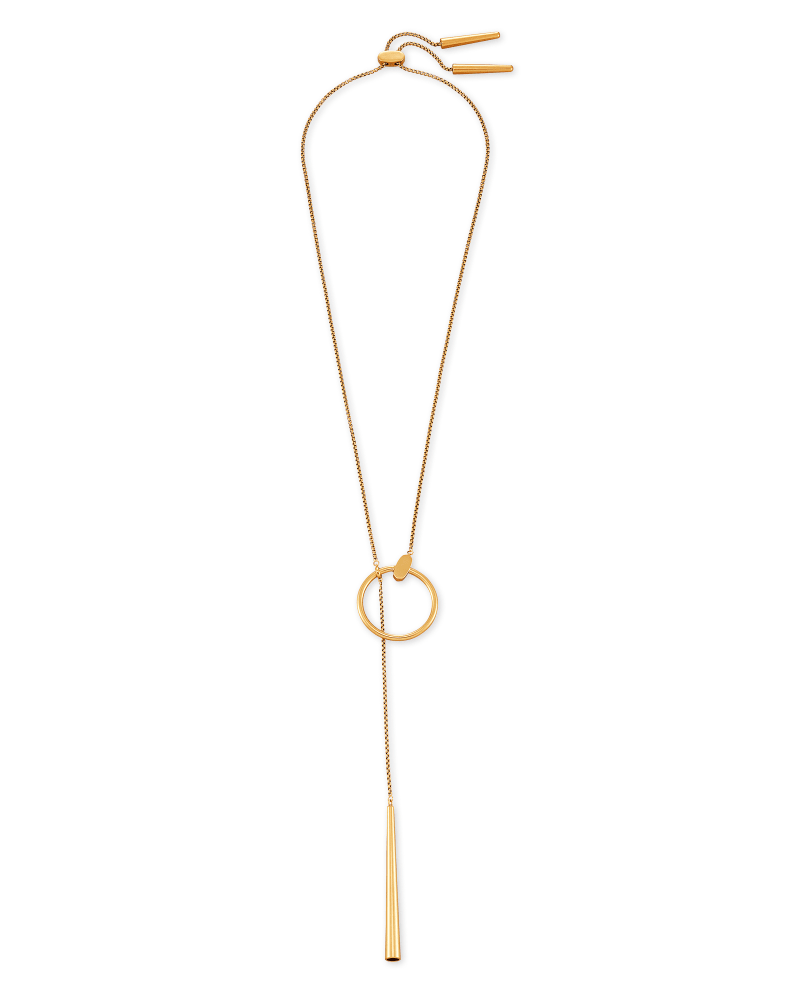 Tegan Y Necklace in Vintage Gold