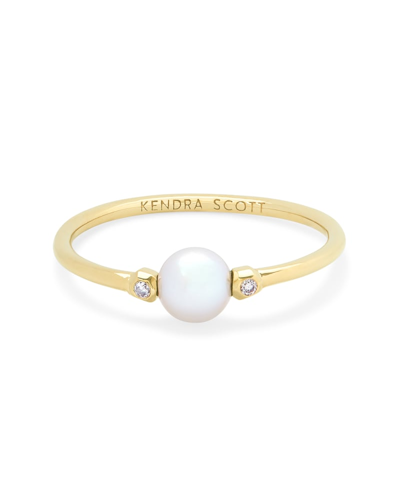 Cathleen 14k Yellow Gold Band Ring in Pearl