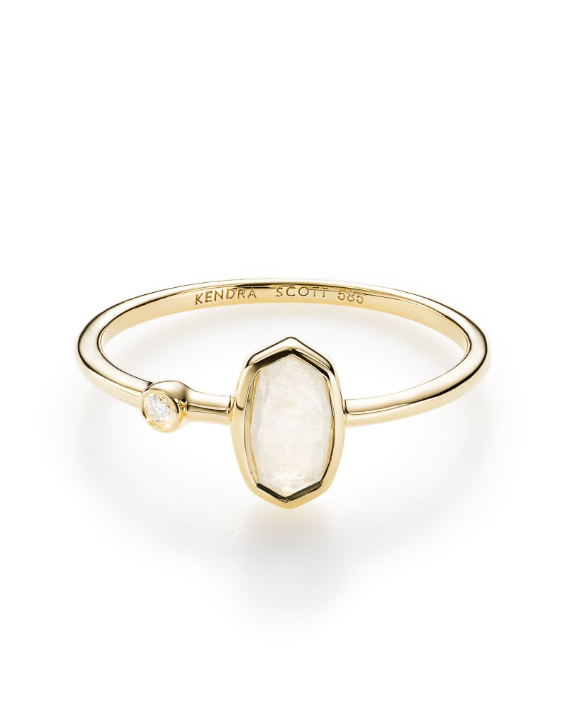 Chastain Ring in Rainbow Moonstone and 14k Yellow Gold