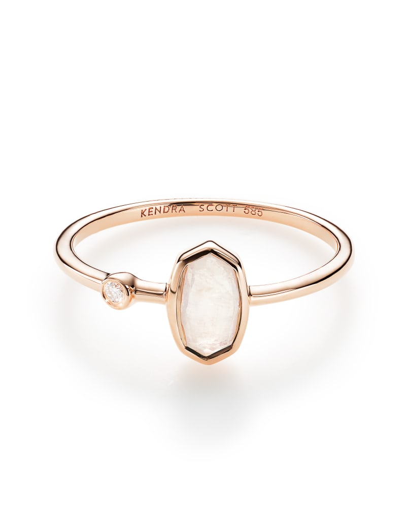 Chastain Ring in Rainbow Moonstone and 14k Rose Gold