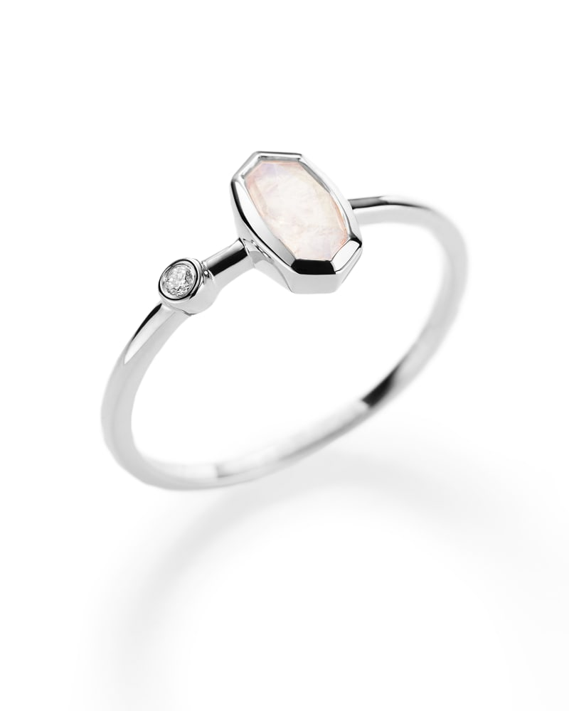 Chastain Ring in Rainbow Moonstone and 14k White Gold