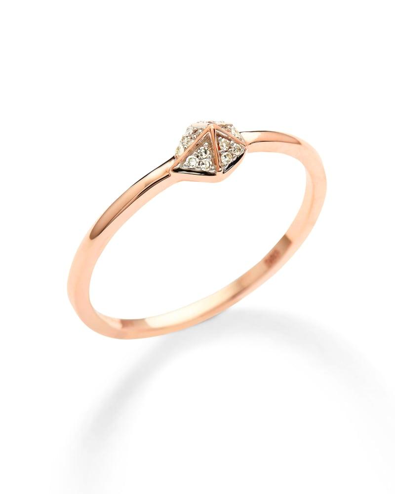 Fazia 14k Rose Gold Ring in White Diamond