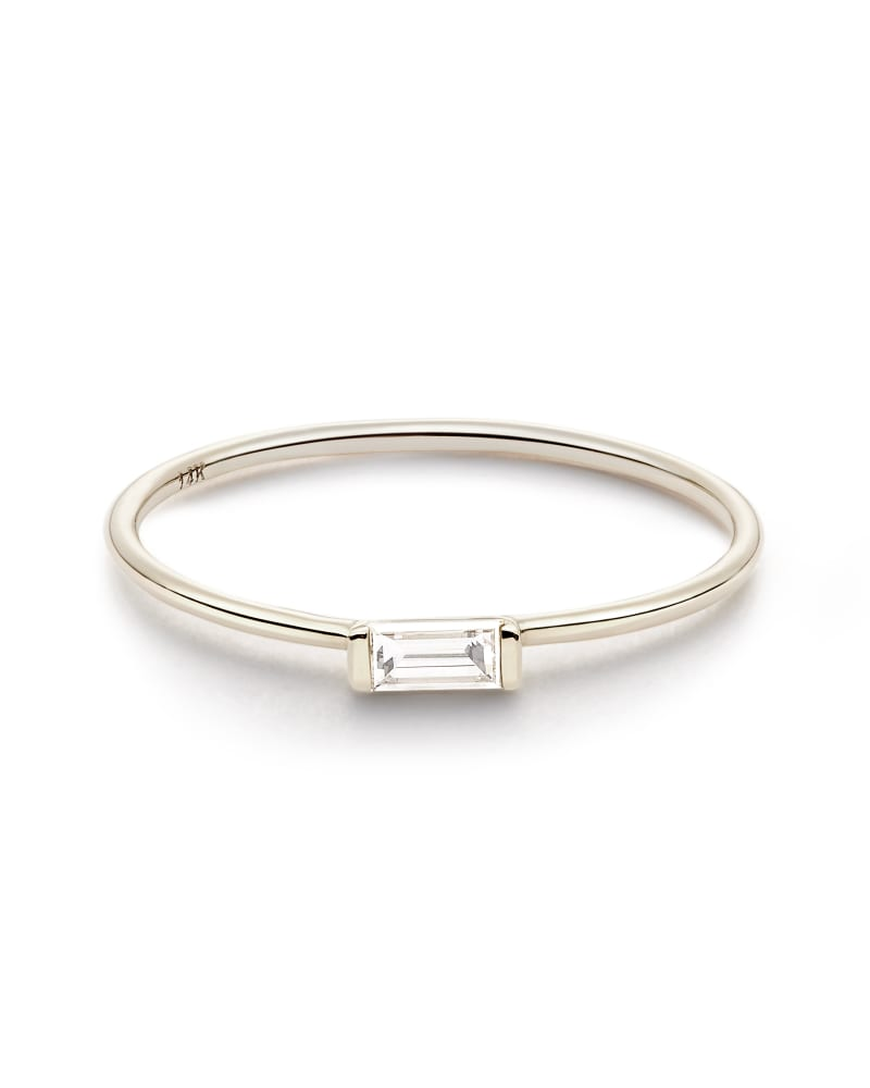 Isabella 14k White Gold Band Ring in White Diamond