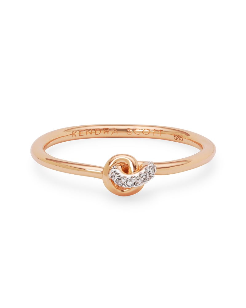Love Knot 14K Rose Gold Band Ring in White Diamond