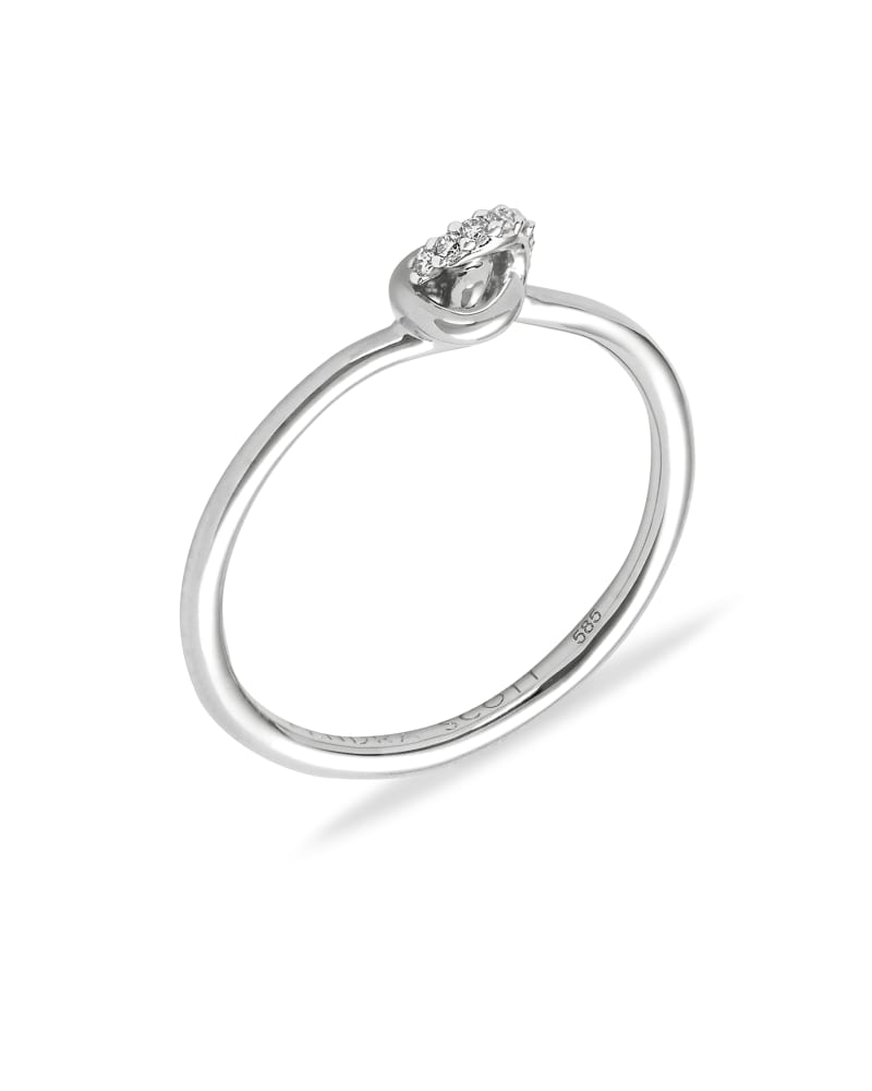 Love Knot 14K White Gold Band Ring in White Diamond