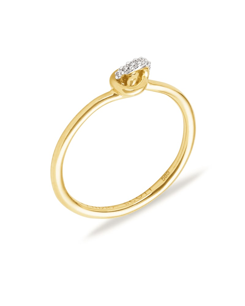 Love Knot 14K Yellow Gold Band Ring in White Diamond