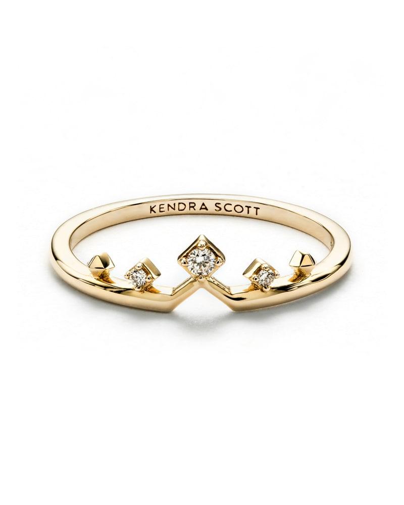 Michelle 14k Gold Band Ring White Diamond 8 Kendra Scott