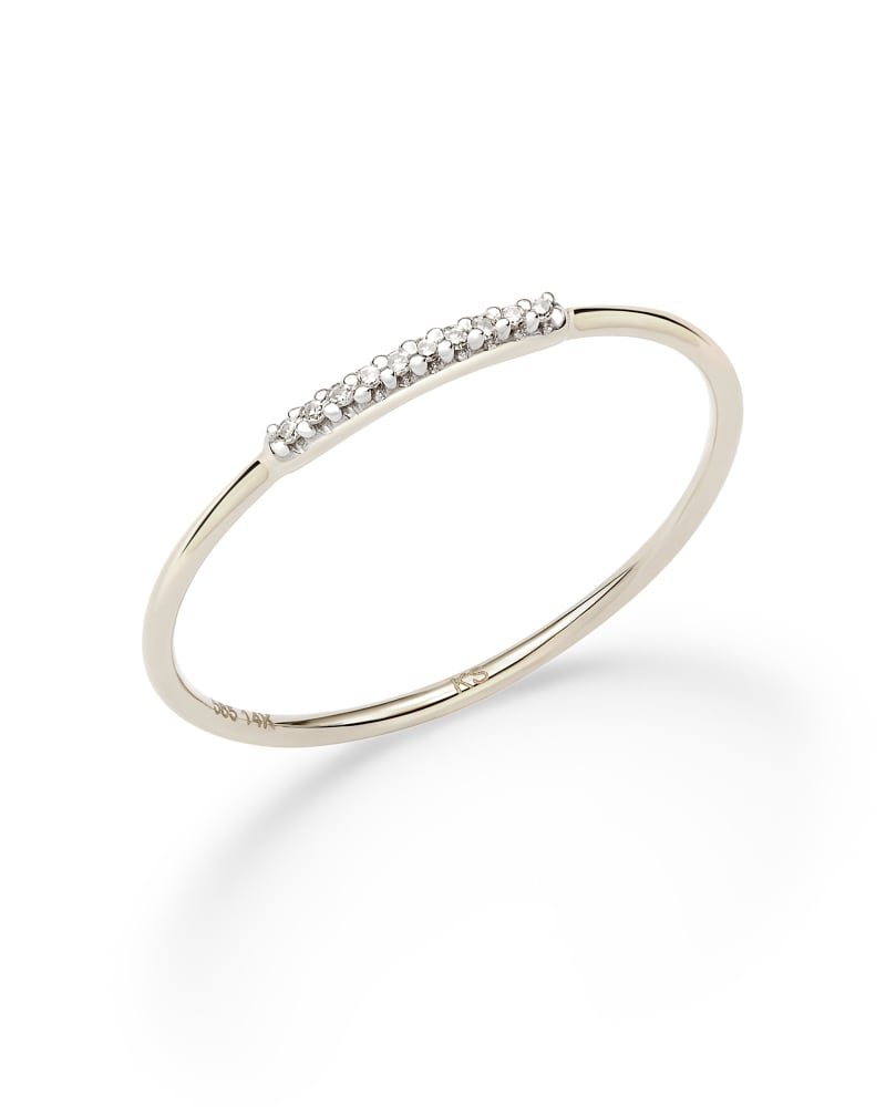 Mila 14k White Gold Band Ring in White Diamond