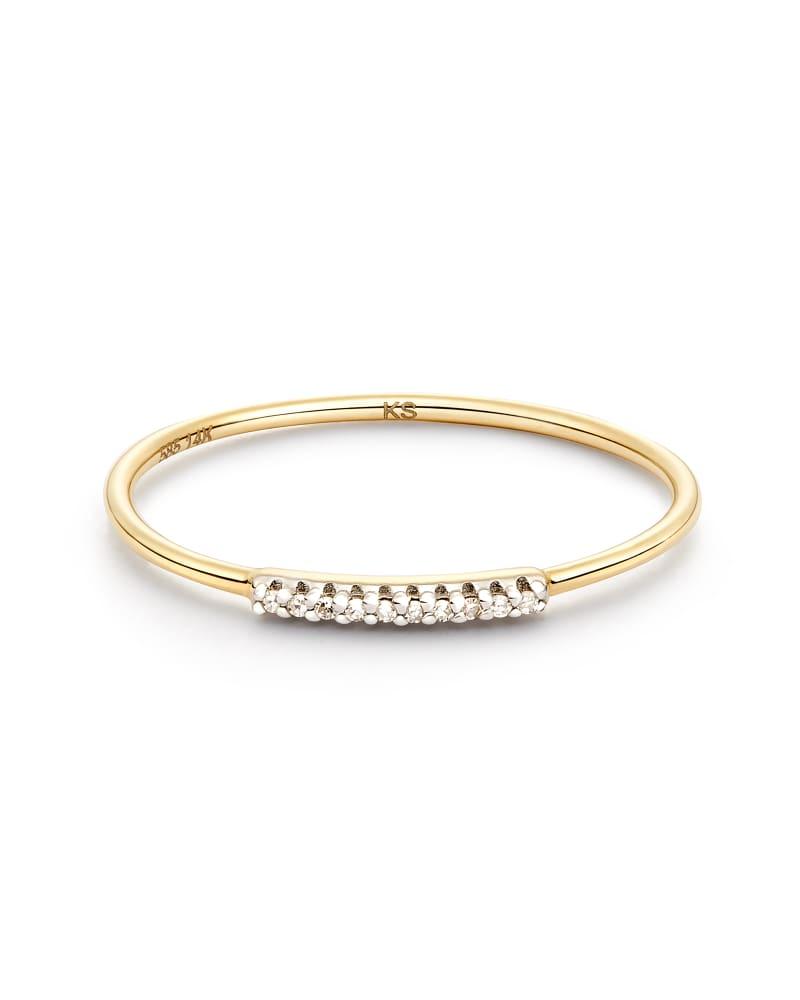 Mila 14k Yellow Gold Band Ring in White Diamond