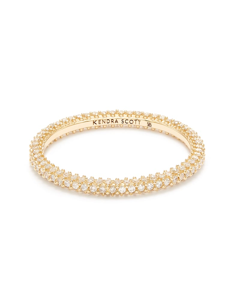 Remi 14k Yellow Gold Band Ring In White Diamonds