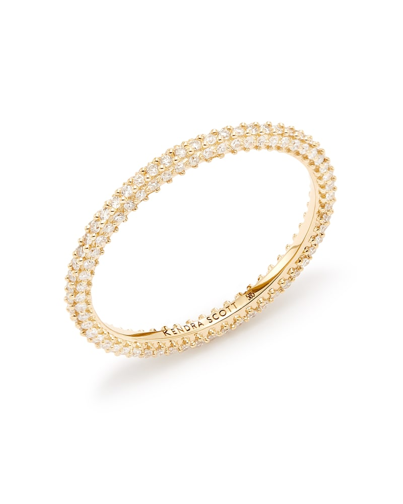 Remi 14k Yellow Gold Band Ring In White Diamonds