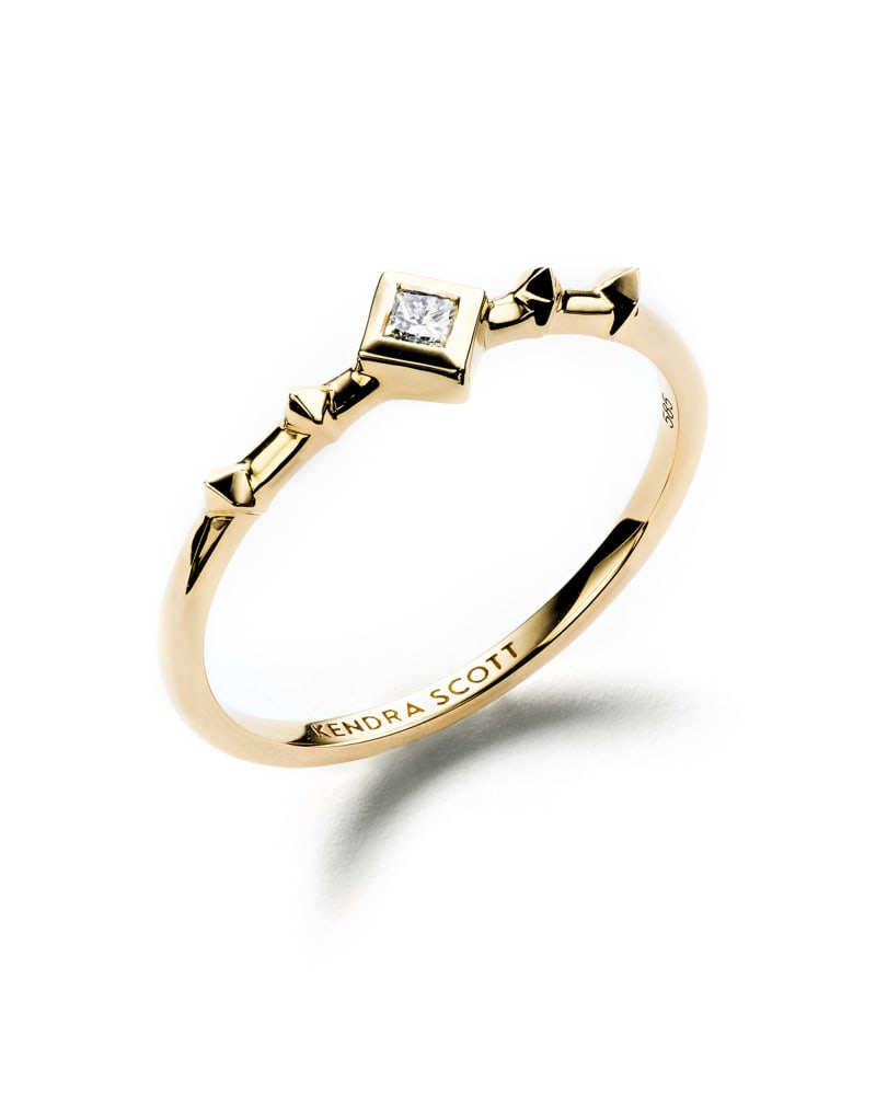 Wave 14k Rose Gold Band Ring in White Diamond