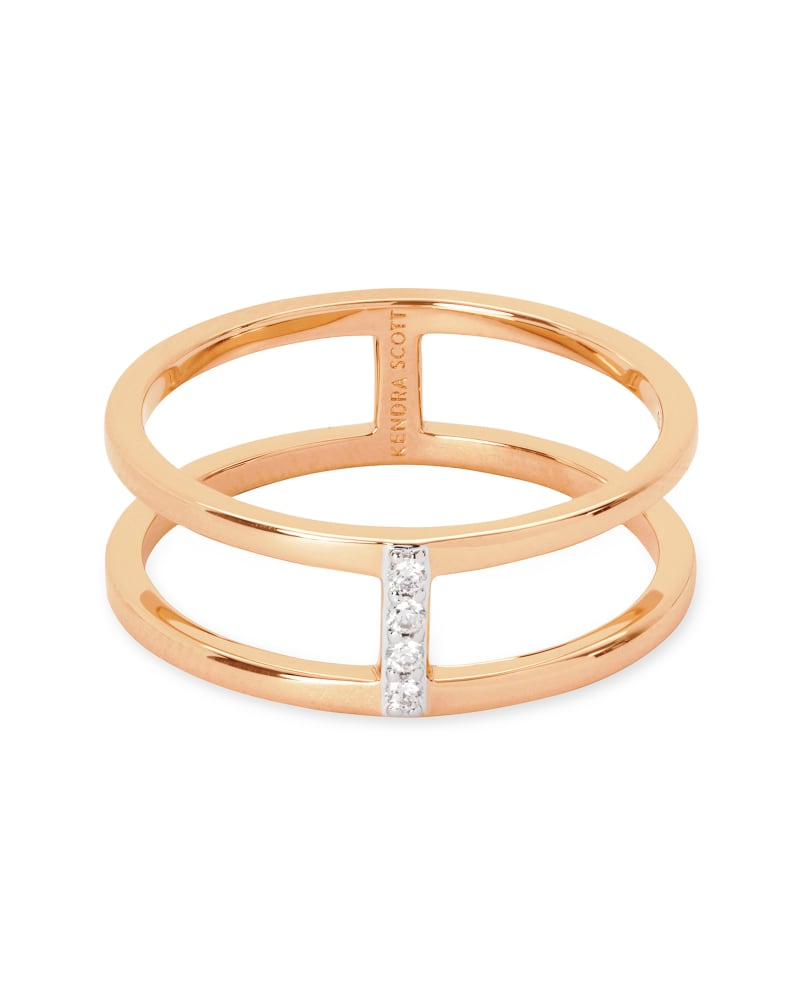 Waylon 14K Rose Gold Band Ring in White Diamond