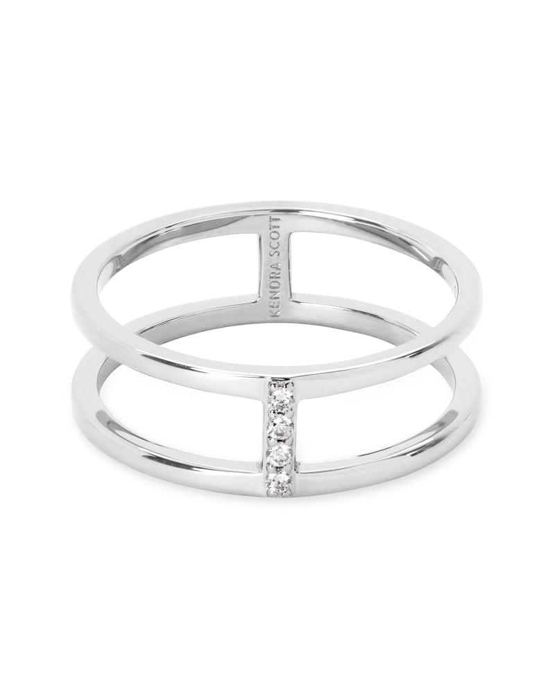 Waylon 14K White Gold Band Ring in White Diamond