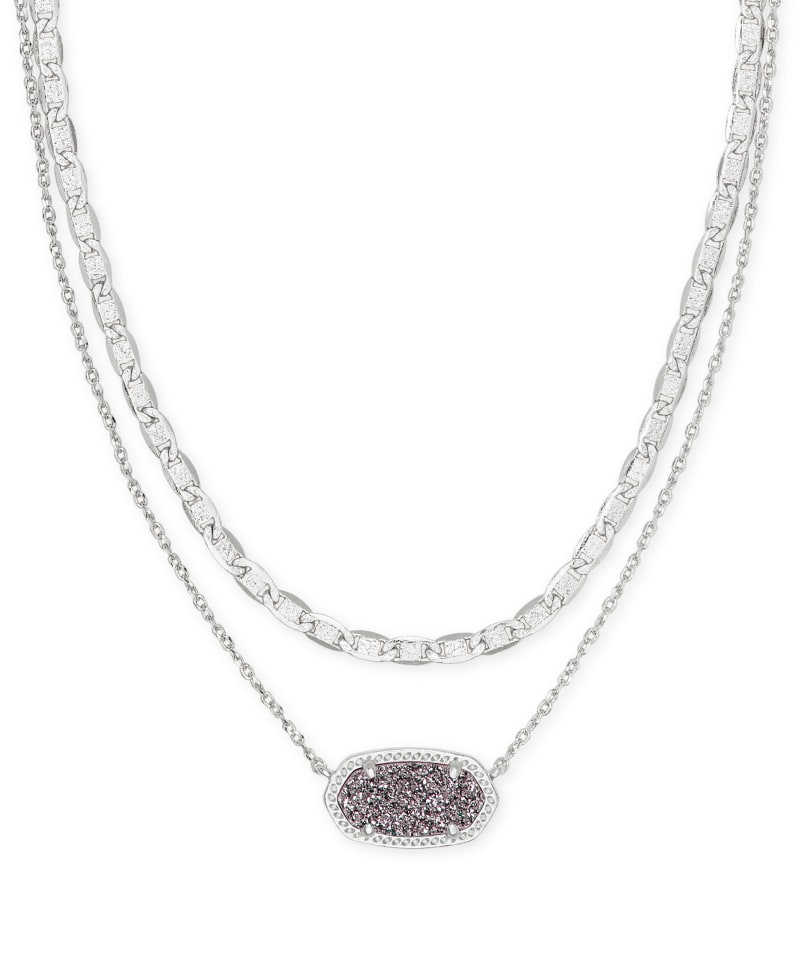 Elisa Silver Multi Strand Necklace in Platinum Drusy