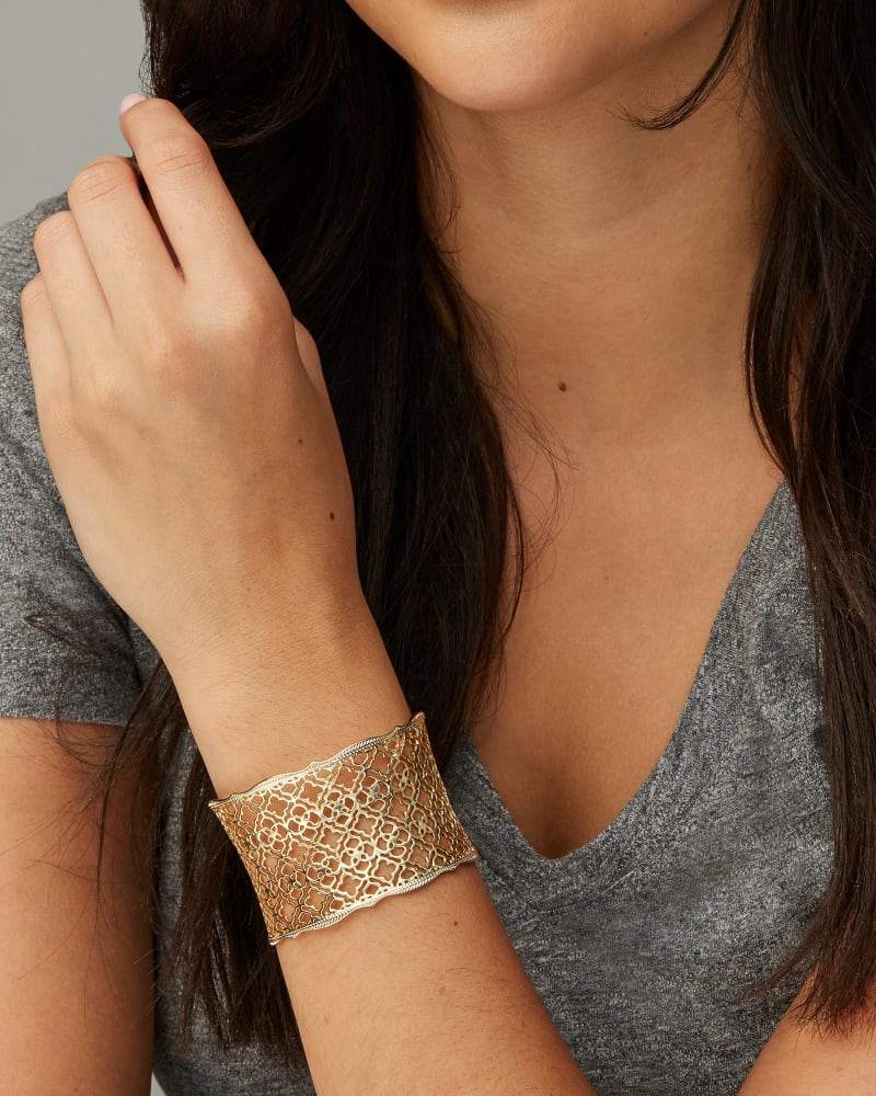 Candice Gold Cuff Bracelet in Silver Filigree Mix