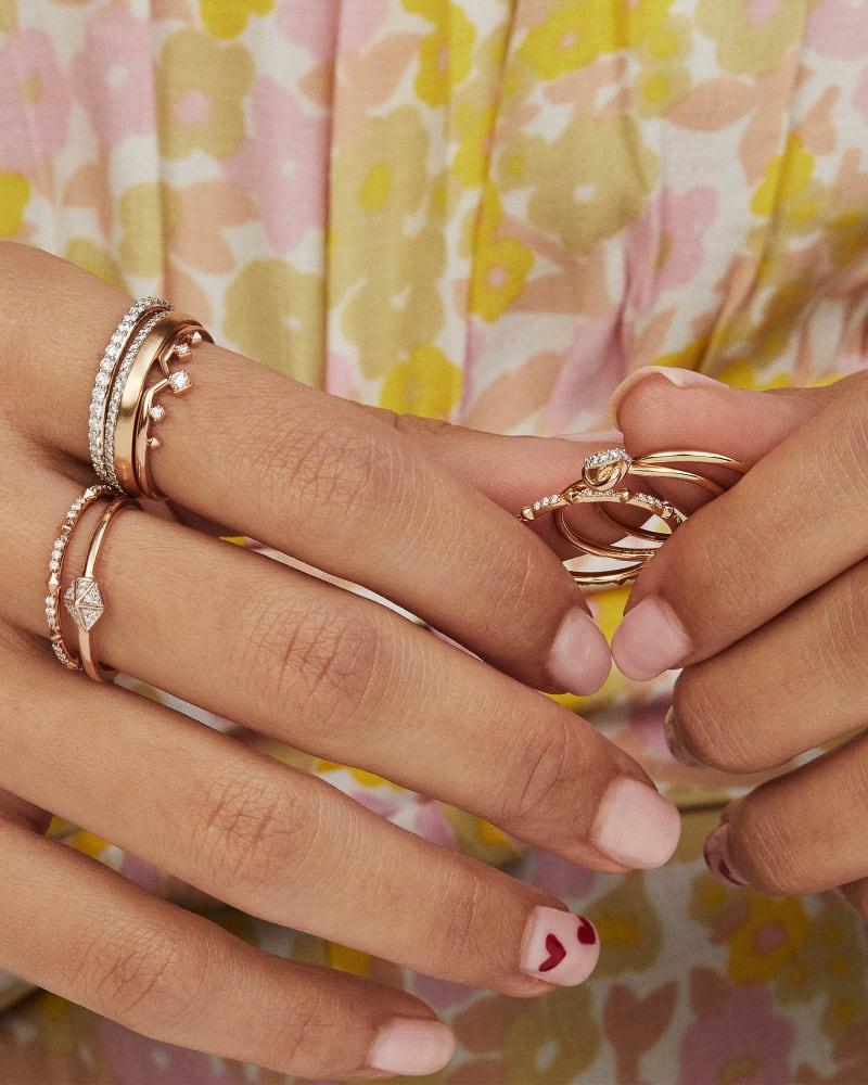 Whitney 14K Yellow Gold Band Ring in White Diamond