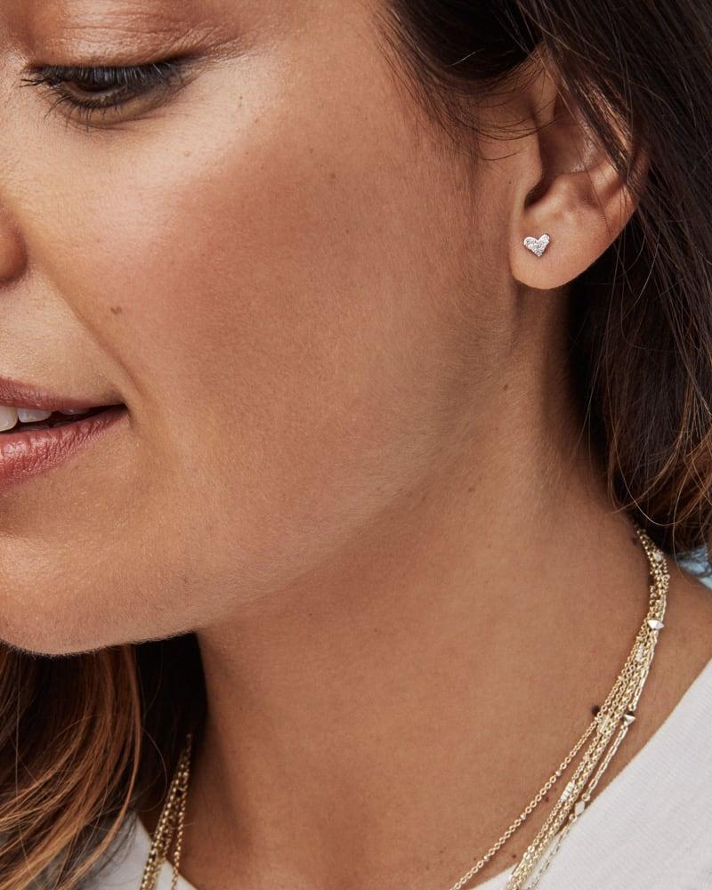 Heart 14k Yellow Gold Stud Earrings in White Diamonds
