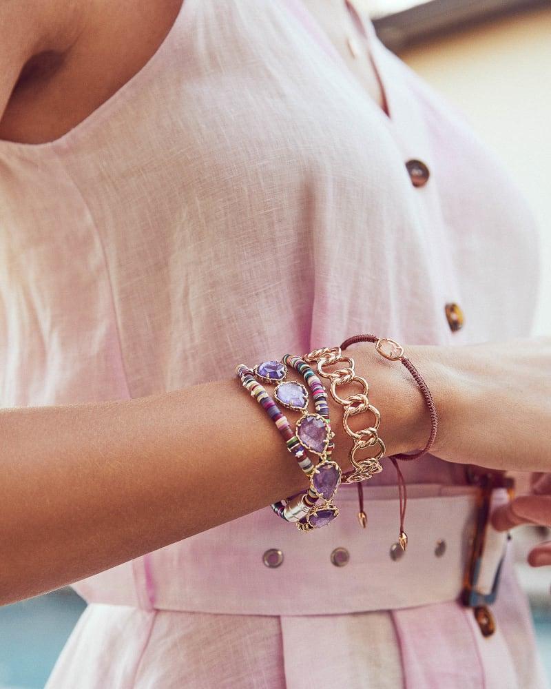 Kenzie Gold Link Bracelet In Purple Mica