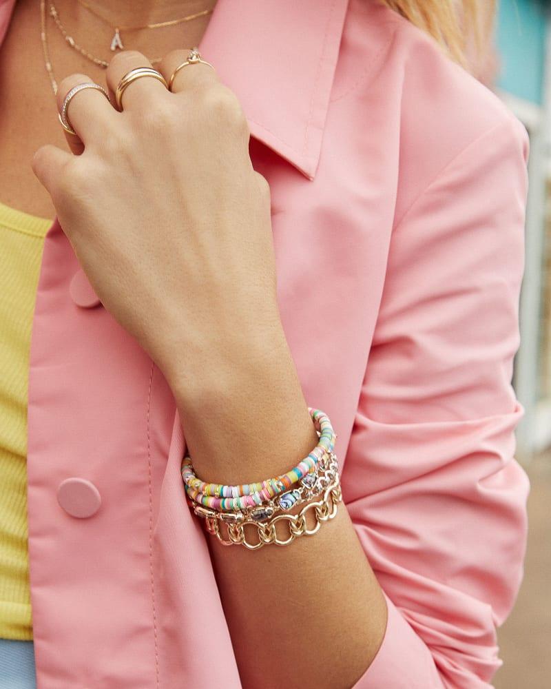 Reece Bright Silver Wrap Bracelet in Neutral Mix