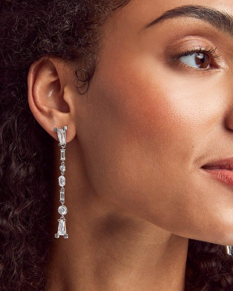 Rumi Silver Statement Earrings in Lustre Glass