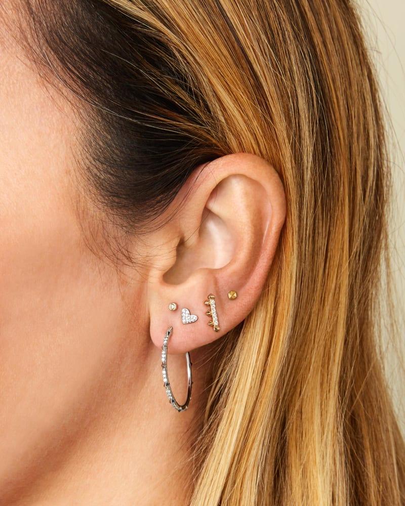 Heart Mini 14K Yellow Gold Stud Earring in White Diamond