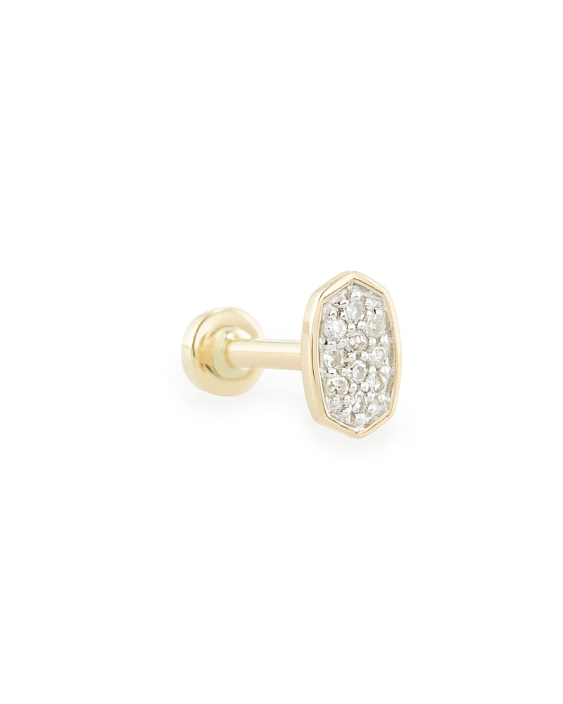 Marisa Mini 14K Yellow Gold Stud Earring in White Diamond