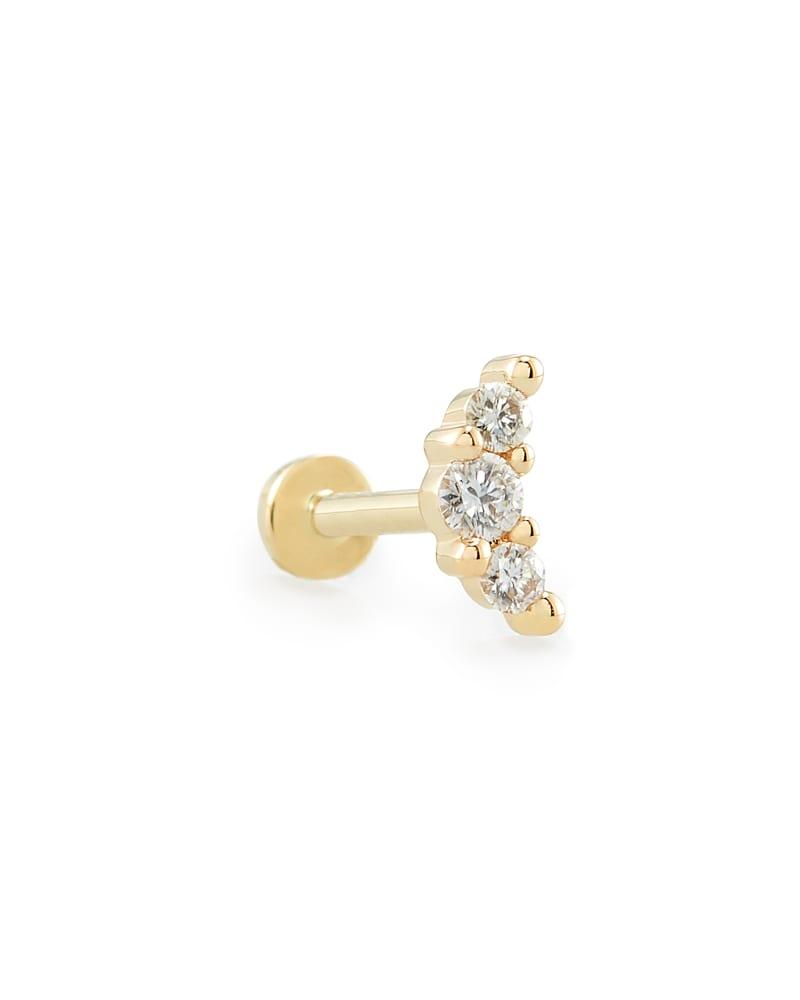 Orion Mini 14K Yellow Gold Stud Earring in White Diamond