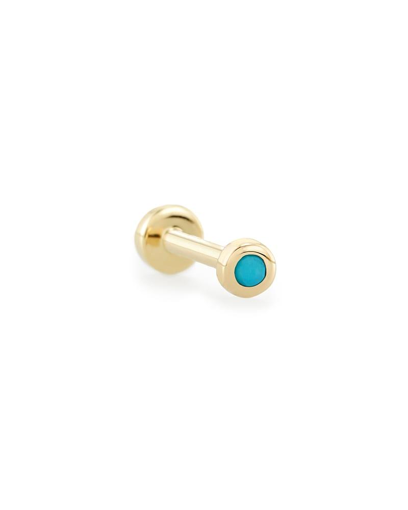 Reeve Mini 14K Yellow Gold Stud Earring in Turquoise