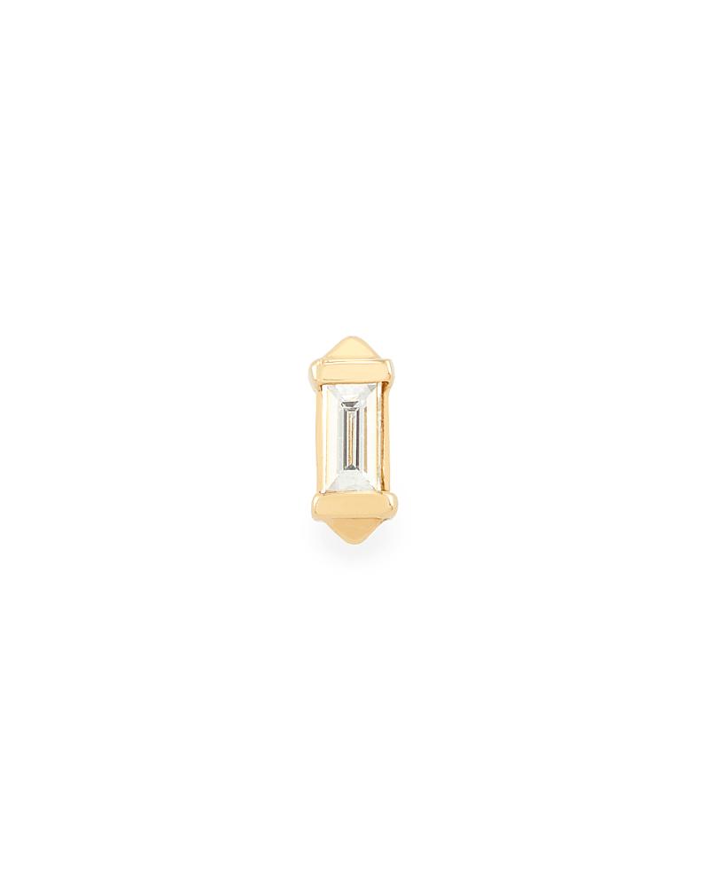 Sianna Mini 14K Yellow Gold Stud Earring in White Diamond