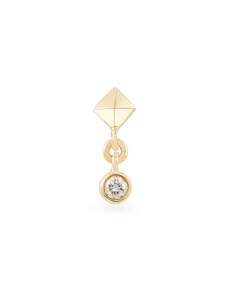 Zane Mini 14K Yellow Gold Stud Earring in White Diamond