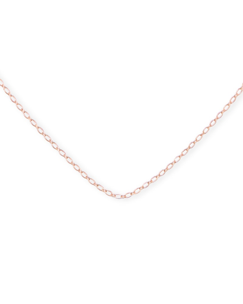 30 Inch Thin Chain Necklace in 18k Rose Gold Vermeil