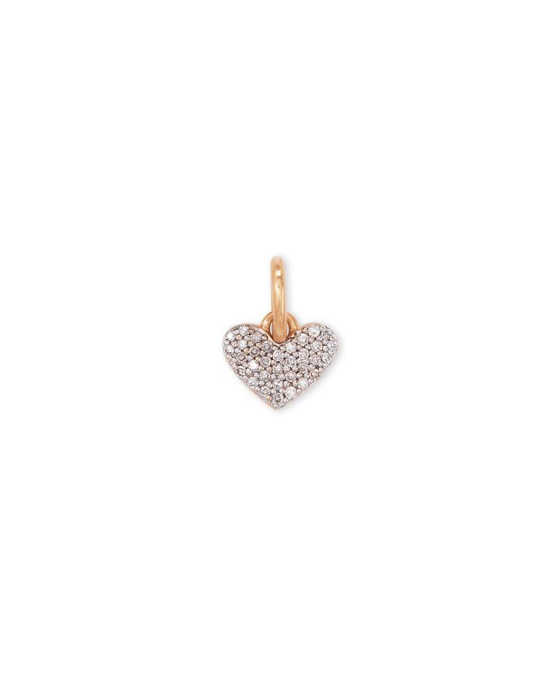 Ari 18k Rose Gold Vermeil Pave Heart Charm in White Diamond