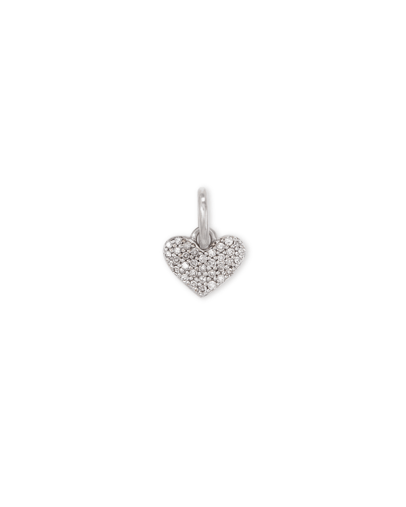 Ari Sterling Silver Pave Heart Charm in White Diamond