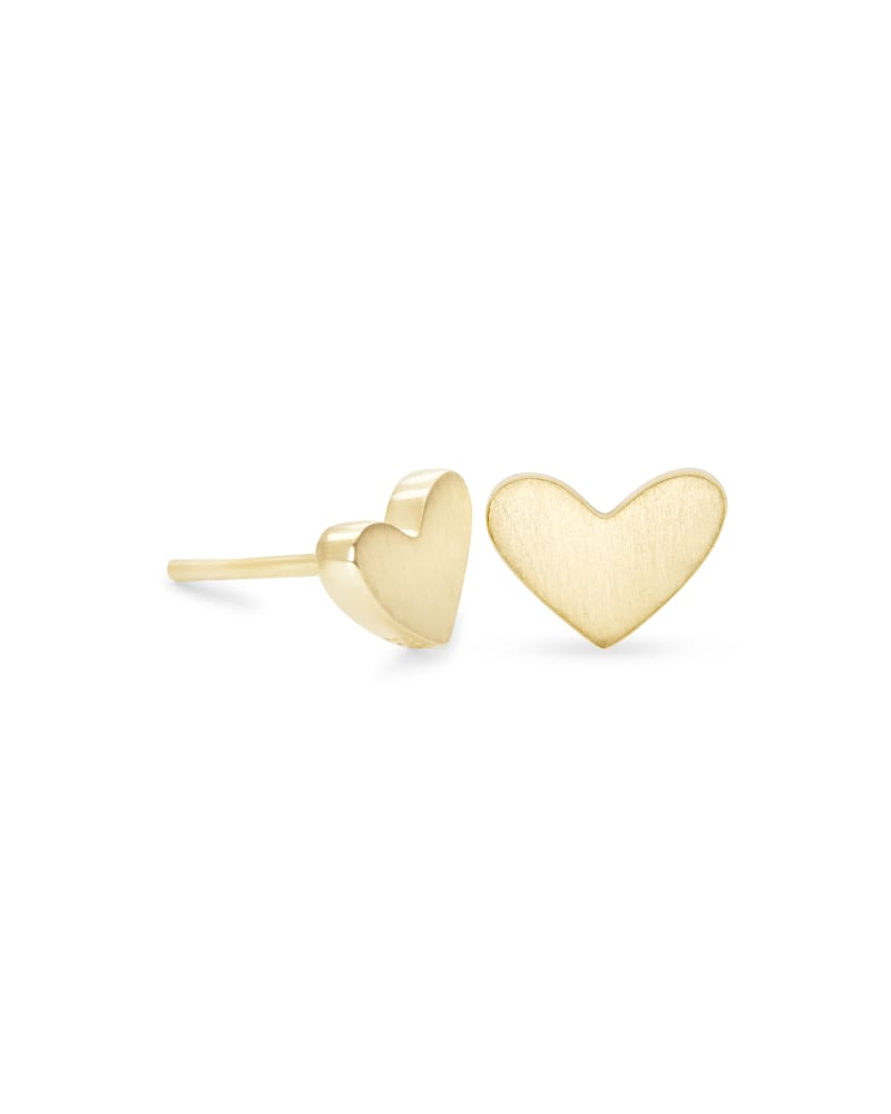 Ari Heart Stud Earrings In 18k Gold Vermeil