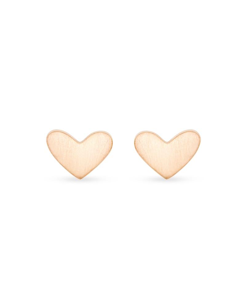 Ari Heart Stud Earrings In 18k Rose Gold Vermeil