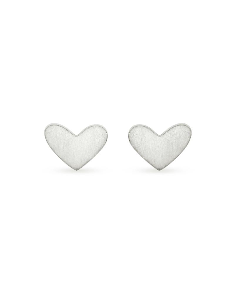 Ari Heart Stud Earrings In Sterling Silver