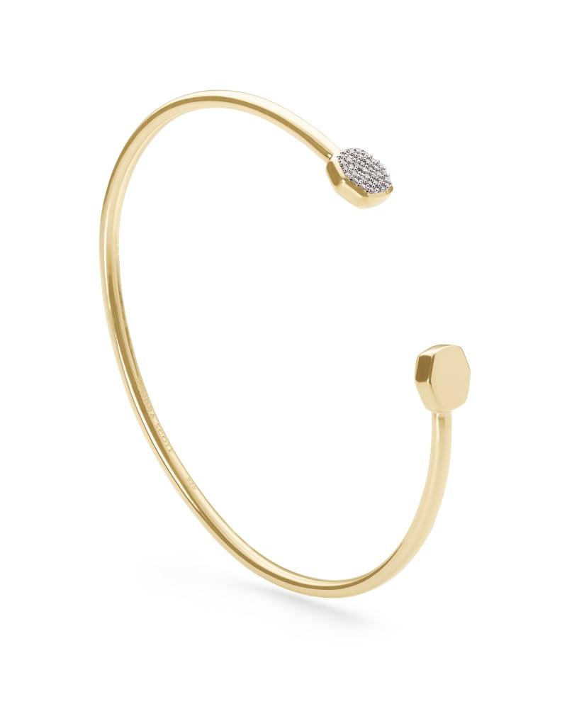 Davis 18k Gold Vermeil Cuff Bracelet in White Diamond