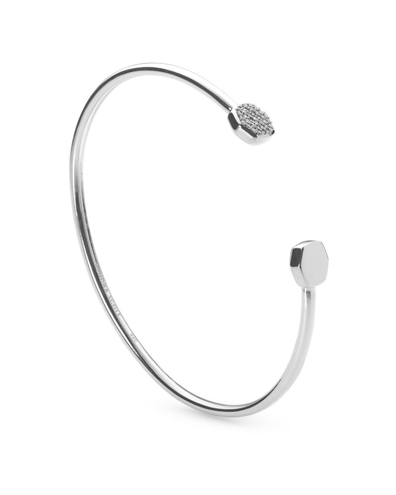 Davis Sterling Silver Cuff Bracelet in White Diamond