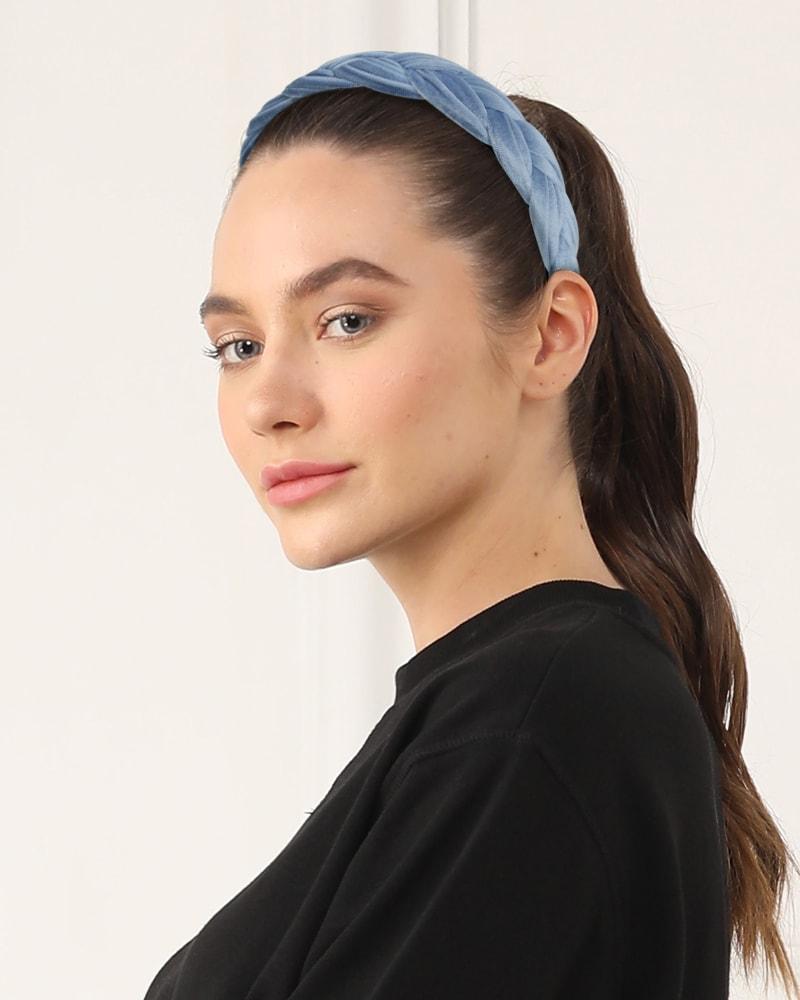 Velvet Braided Headband in Blue Ombre