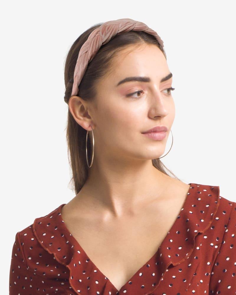 Velvet Braided Headband in Blush Pink